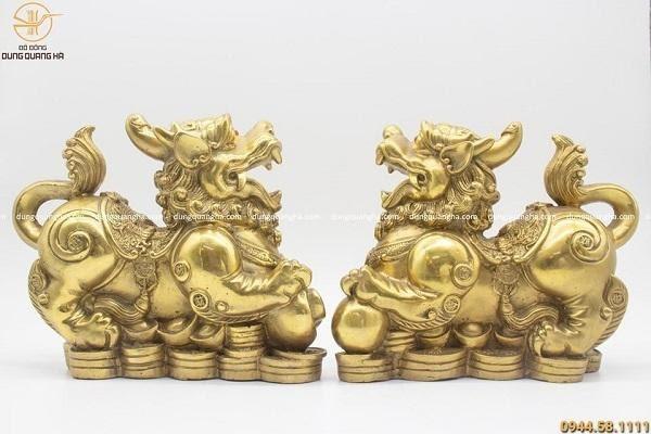 Cặp Tỳ Hưu bằng đồng vàng mộc cao 25cm thiết kế ấn tượng