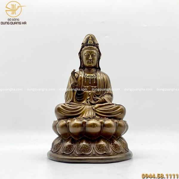 Tượng Phật Bà Quan Thế Âm Bồ Tát bằng đồng giả cổ cao 30cm