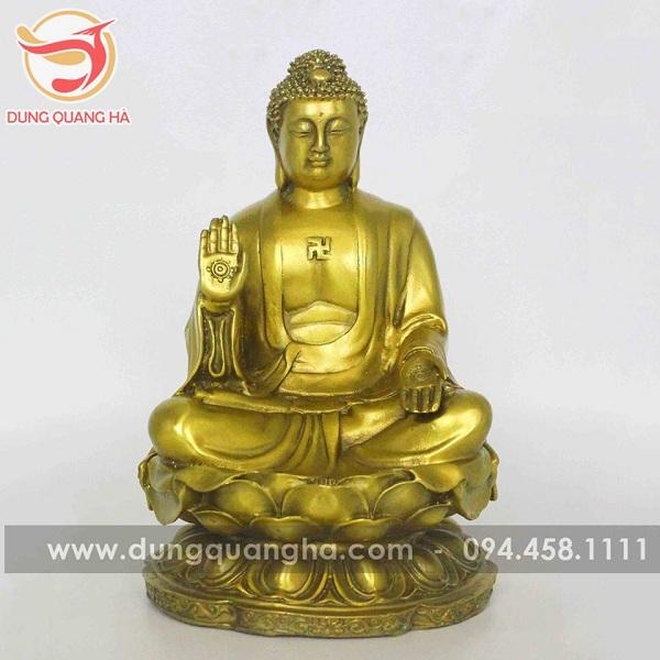 Tượng Phật A Di Đà bằng đồng vàng mộc trang nghiêm