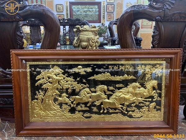 Tranh Mã Đáo Thành Công bằng đồng dát vàng 9999