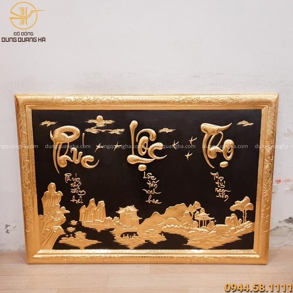 Tranh chữ Phúc - Lộc - Thọ dát vàng ấn tượng