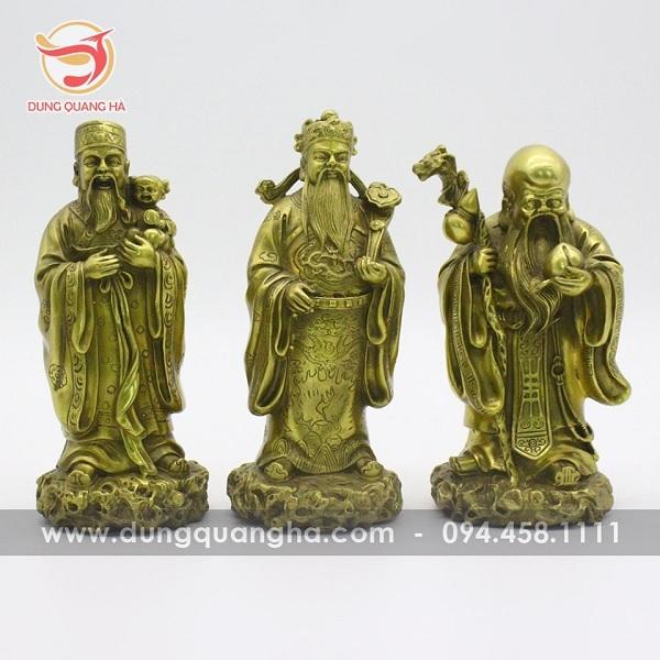 Tượng đồng bộ ba ông Phúc - Lộc - Thọ tinh xảo tạo nên bởi quy trình đúc tượng đồng 7 bước