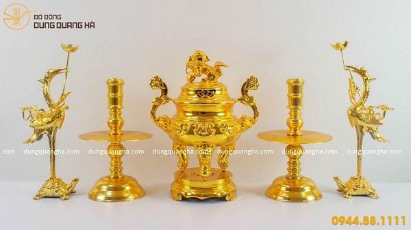 Bộ ngũ sự bằng đồng mạ vàng 24k cao cấp tại đồ đồng Dung Quang Hà