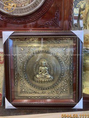 Tranh Phật bằng đồng giả cổ khung giả gỗ vuông 75cm