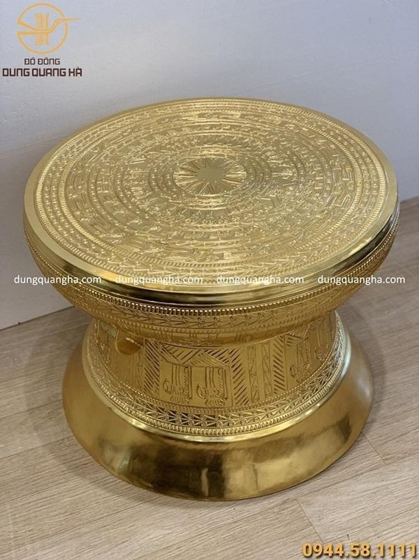 Quả trống đồng đường kính 60cm dát vàng 9999