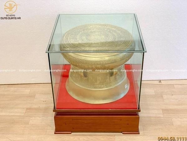 Quả trống đồng Ngọc Lũ bằng đồng cát tút 50cm (có đế gỗ)