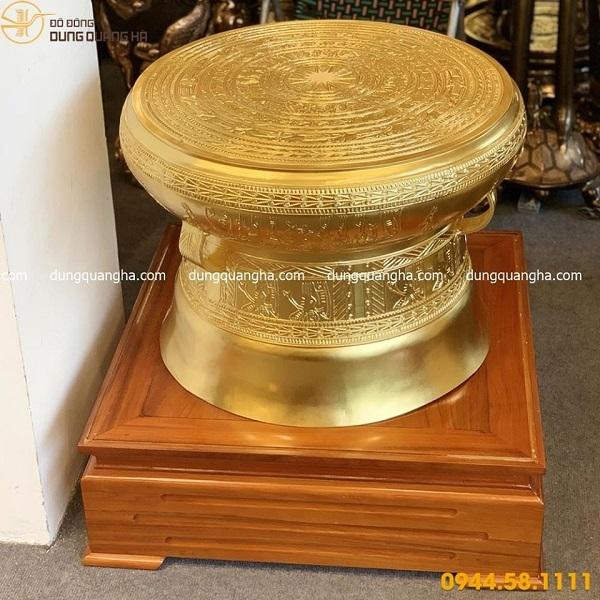 Trống đồng Ngọc Lũ thếp vàng cao 50cm tinh xảo