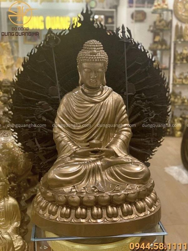Tượng Phật Thích Ca bằng đồng đỏ đẹp tôn nghiêm cao 70cm