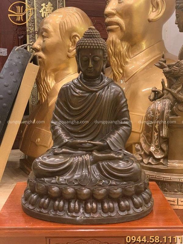 Tượng Phật Thích Ca cao 48cm bằng đồng vàng hun giả cổ