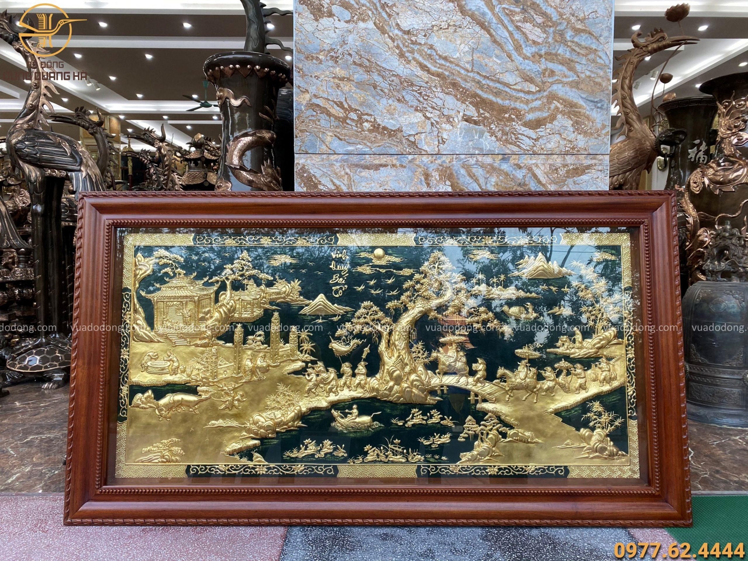 Tranh vinh quy bái tổ bằng đồng thếp vàng 9999 kích thước 2m3
