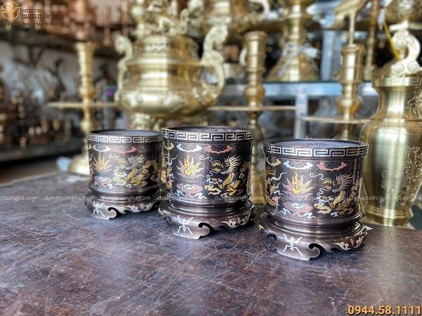 Bát hương đồng mạ ngũ sắc khảm rồng phượng cổ kính tinh xảo