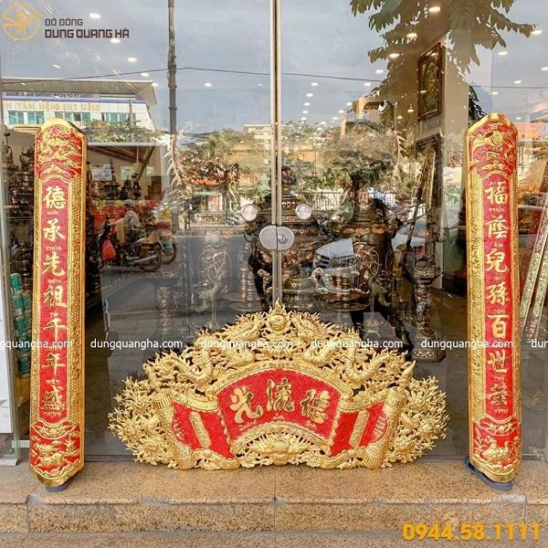 Bộ cuốn thư câu đối Đức Lưu Quang mạ vàng đẹp tinh xảo