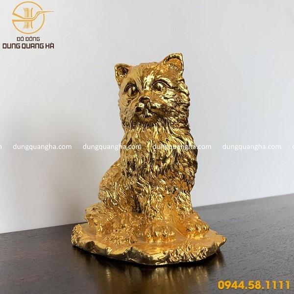 Tượng mèo phong thủy mạ vàng 24k đẹp, sang trọng