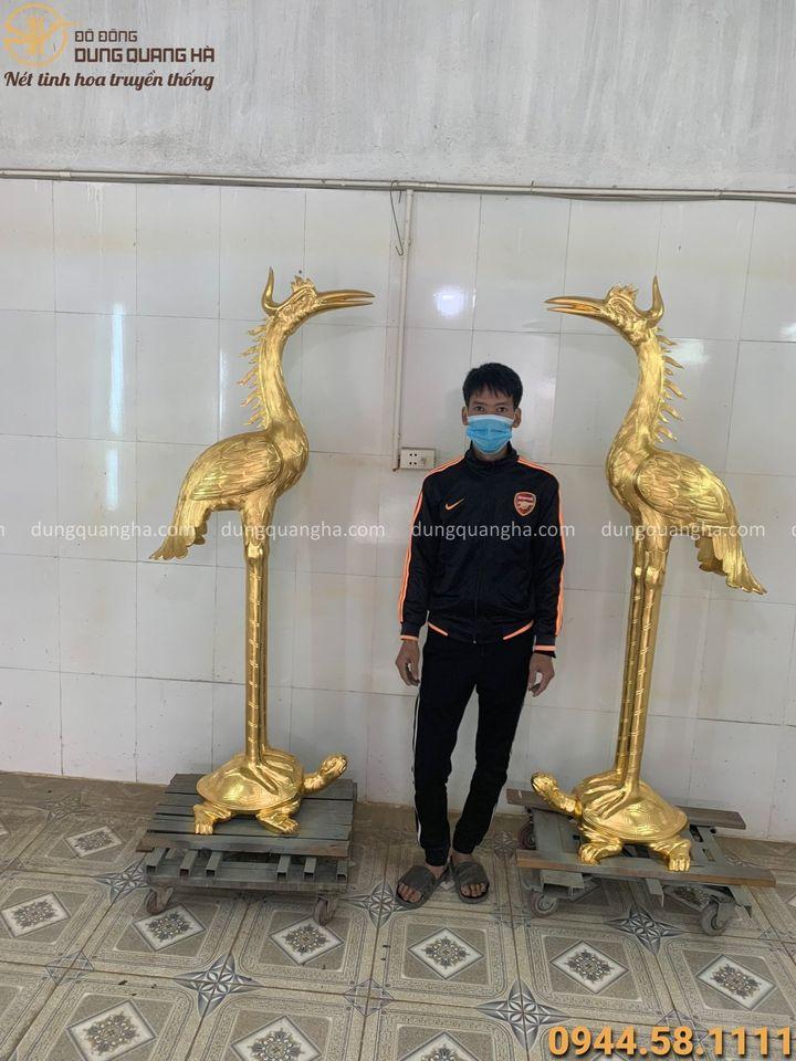 Đôi hạc đồng thờ cúng cỡ lớn cao 1m7 thếp vàng 9999