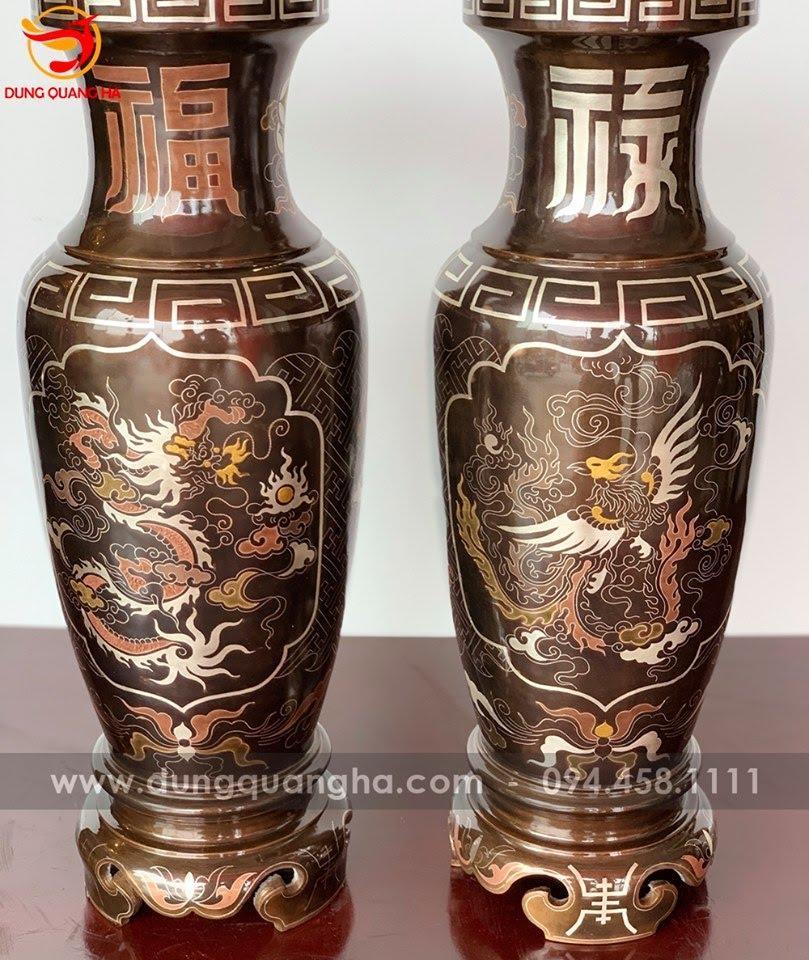 Lọ hoa thờ hoa văn rồng phượng khảm ngũ sắc cao 40cm