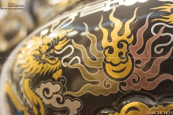 Lư hương thờ cúng bằng đồng khảm ngũ sắc đẹp tinh xảo