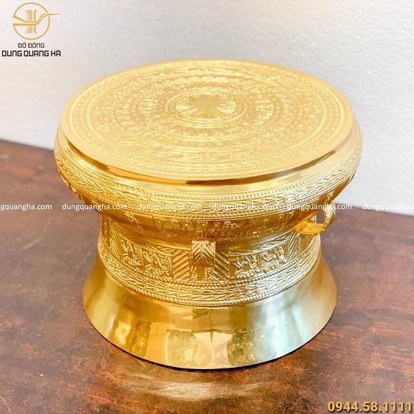 Quả trống đồng cao 30cm bằng đồng đỏ dát vàng 9999 cao cấp