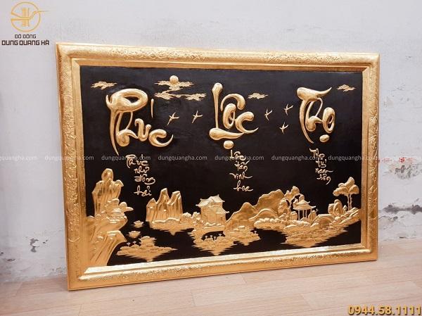 Tranh chữ Phúc - Lộc - Thọ khung liền đồng dát vàng cả khung kích thước 127x88cm