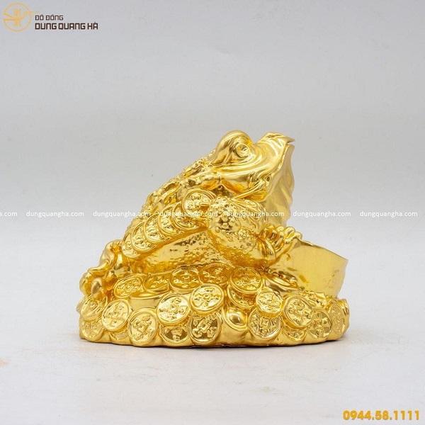Cóc ngậm tiền bằng đồng thếp vàng 9999
