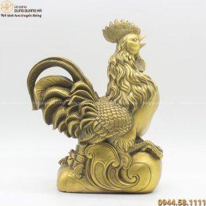 Tượng gà phong thủy như ý bằng đồng vàng mộc cao 34cm