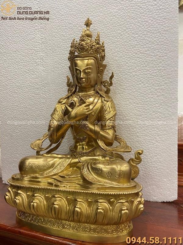 Tượng Kim Cương Chử bằng đồng vàng cao 30cm đẹp tôn nghiêm