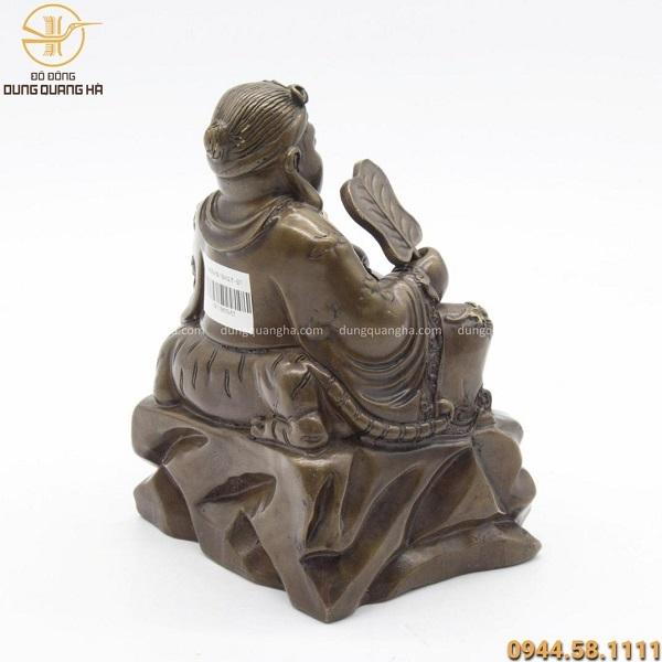 Tượng ông Thần Tài Thổ Địa bằng đá kích thước 18 x 12.5cm