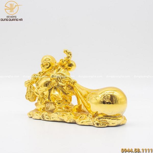 Tượng Phật Di Lặc kéo bao tiền bằng đồng mạ vàng 24k