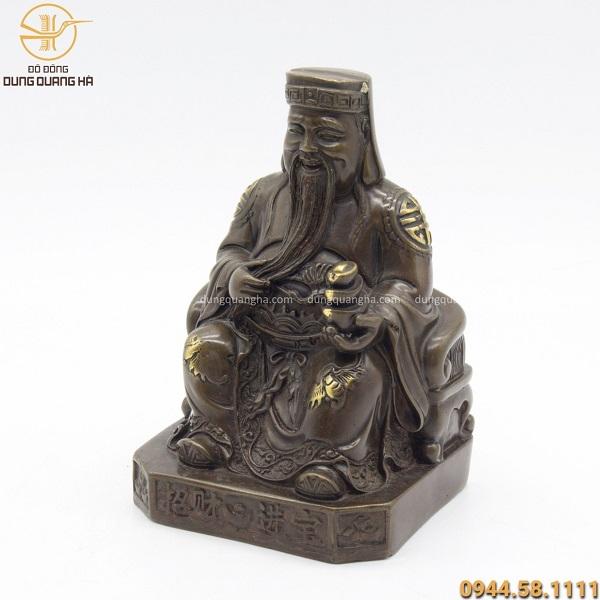 Tượng Thần Tài bằng đồng hun kích thước 18 x 12.5cm