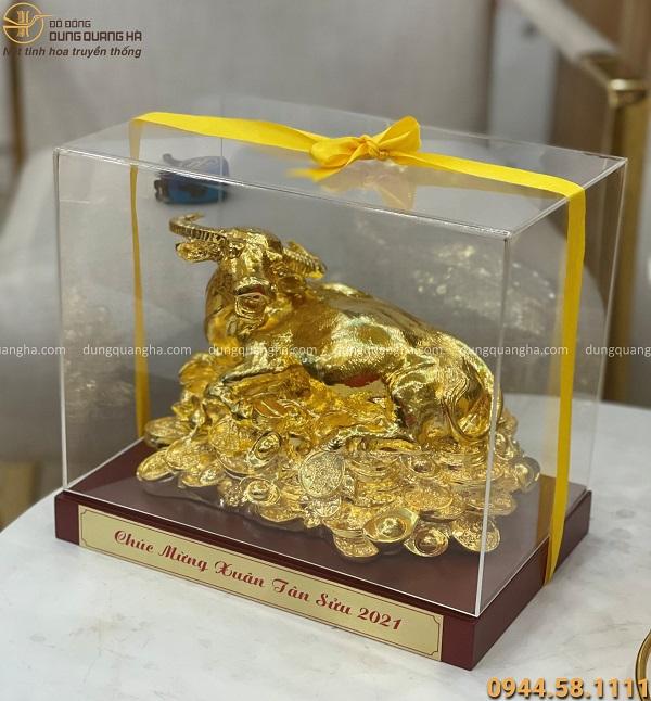 Tượng trâu nằm tiền mạ vàng 24k - quà tặng năm Tân Sửu