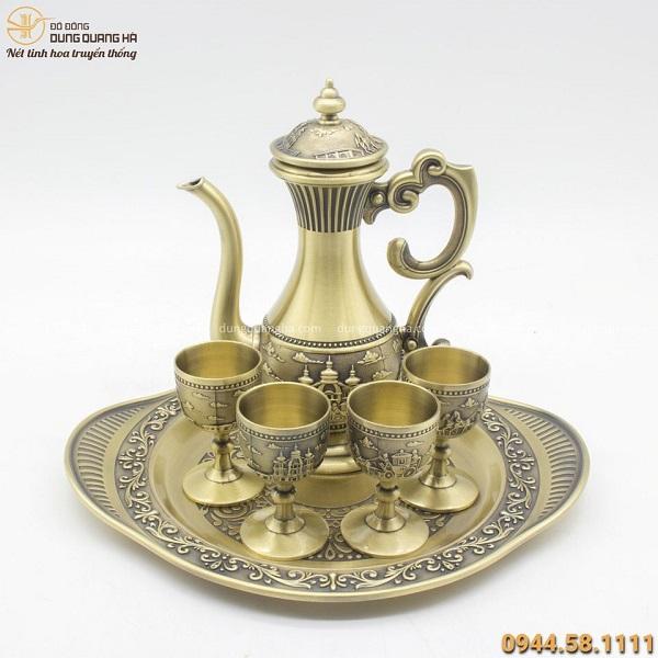 Bộ ấm trà bằng đồng hoa văn quý tộc độc đáo tinh xảo