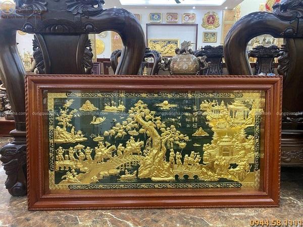 Bức tranh Vinh Quy Bái Tổ thếp vàng 9999 nền xanh 1m7 x 90cm