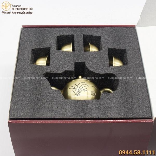 Hộp quà bộ ấm chén cao cấp bằng đồng đẹp trang nhã tinh tế