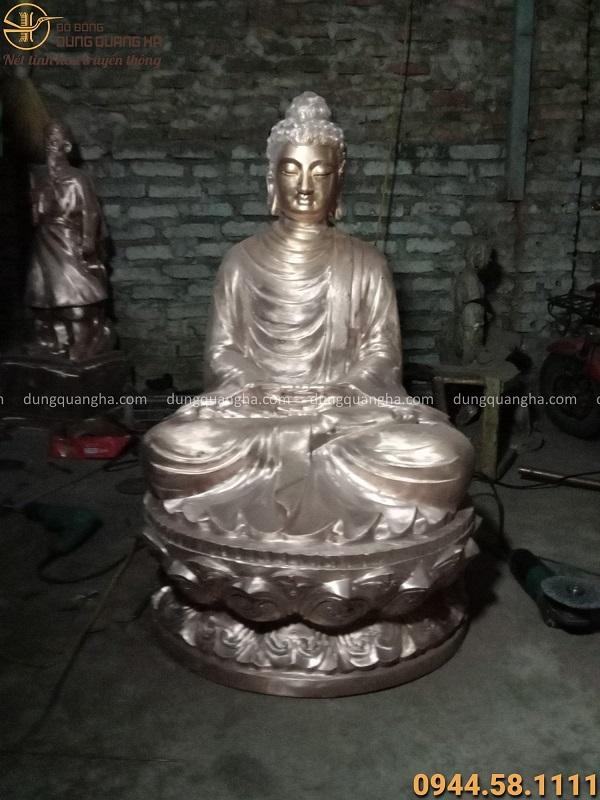 Tượng Phật Thích Ca đẹp tôn nghiêm bằng đồng đỏ cao 99cm