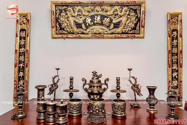 Bộ thờ cúng bằng đồng đẹp tinh xảo