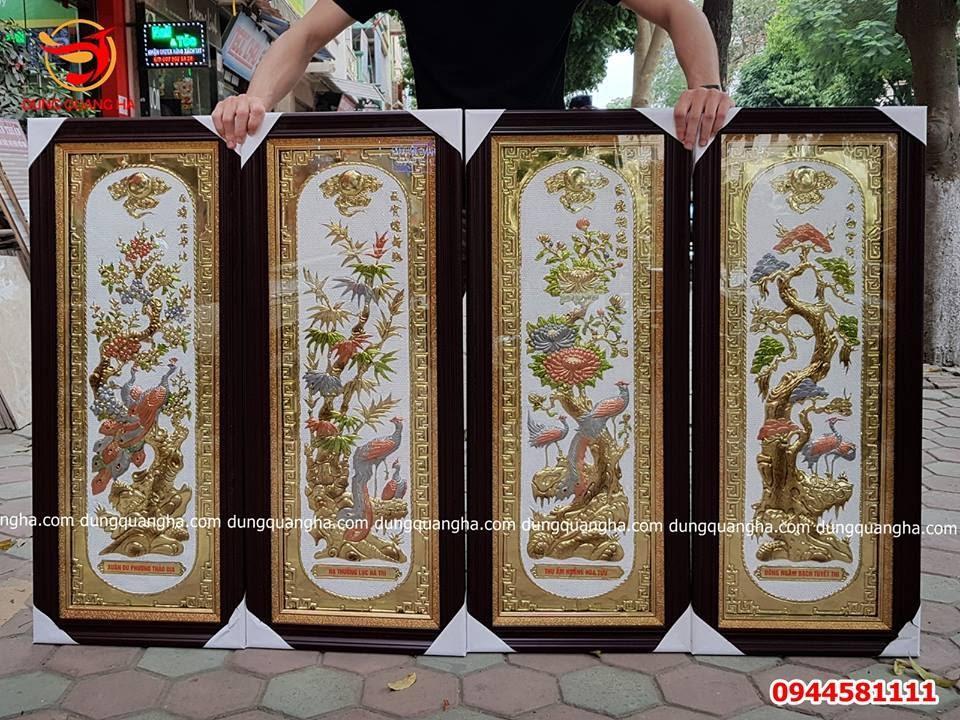 Bộ tranh Tứ quý đẹp khung giả gỗ cao 1m