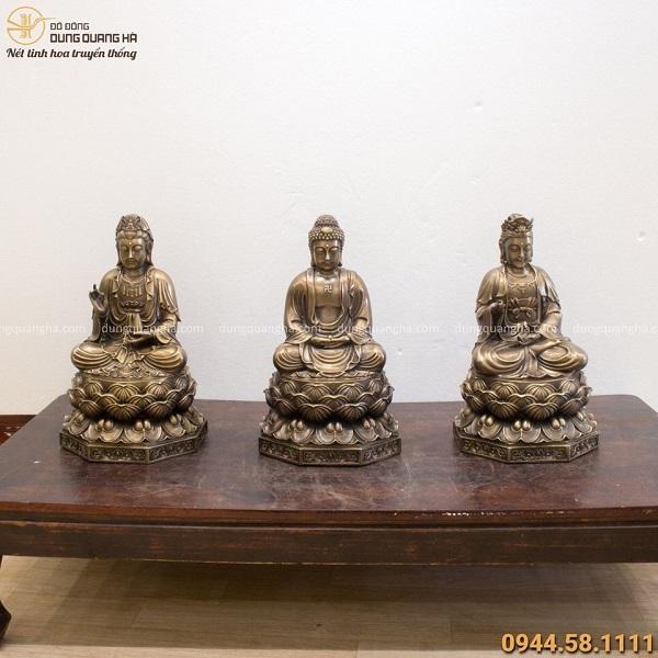 Bộ tượng Tây Phương Tam Thánh bằng đồng hun giả cổ đẹp tôn nghiêm
