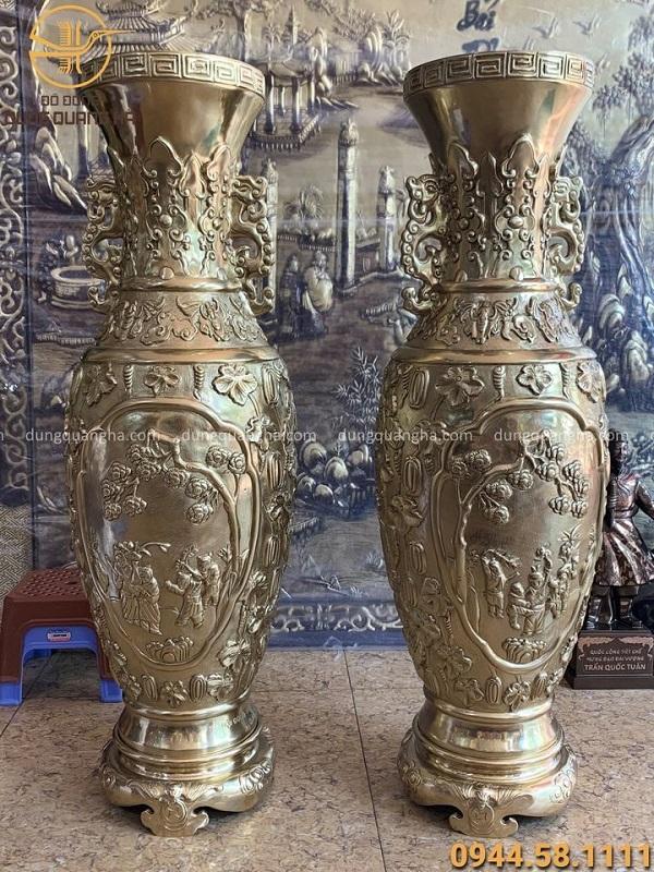 Lọ lộc bình phong thủy bằng đồng vàng cao 93cm