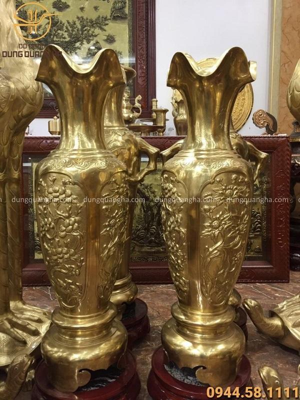 Lọ lộc bình tứ quý bằng đồng vàng catut