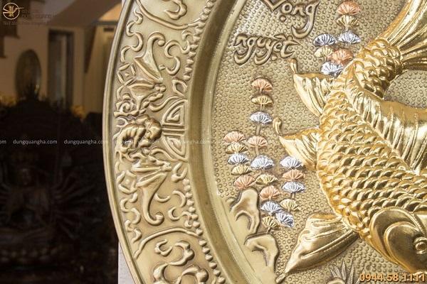 Mâm đồng Lý Ngư Vọng Nguyệt giả cổ đường kính 52cm