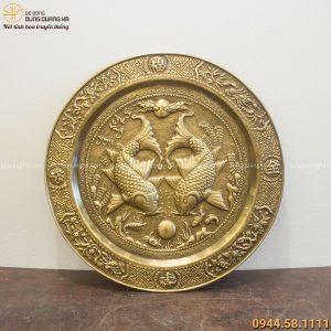Mâm Lý Ngư Vọng Nguyệt phong thủy bằng đồng vàng đường kính 50cm