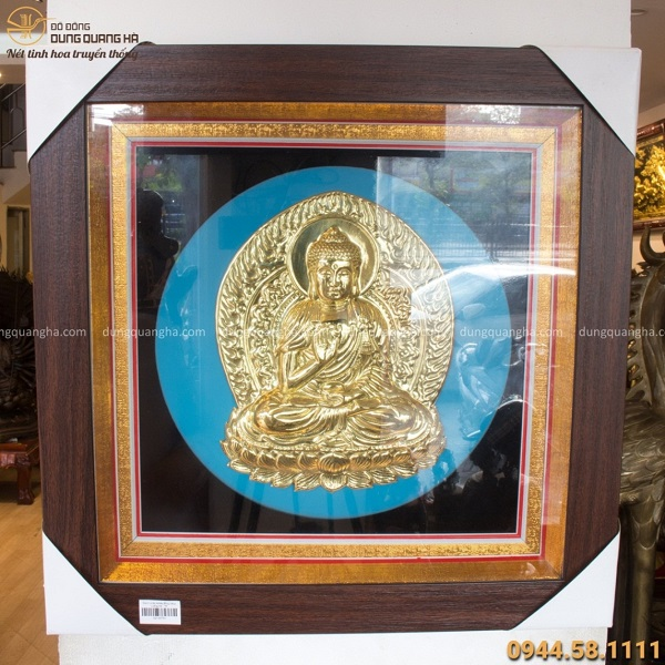Tranh Phật Adida độc đáo bằng đồng vàng khung vuông 49cm