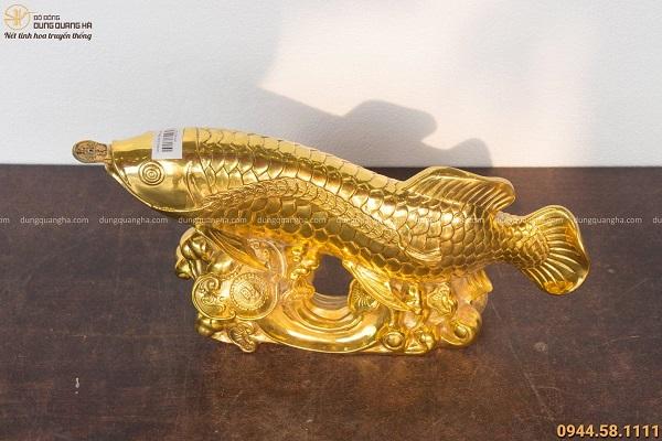 Tượng Cá Như Ý phong thủy bằng đồng mạ vàng kích thước 20x40cm