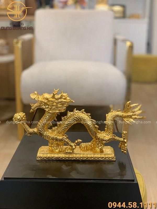 Tượng rồng bằng đồng thết vàng 9999