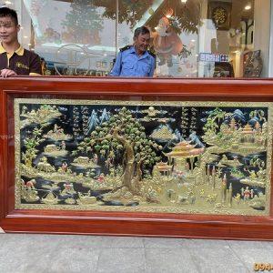 Bức tranh đồng quê vẽ màu tinh tế kích thước 2m3 x 1m2