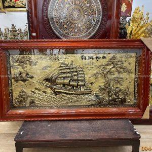 Bức tranh Thuận Buồm Xuôi Gió độc đáo 1m7 x 90cm xước giả cổ