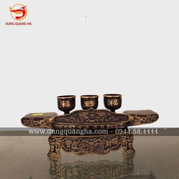 Ngai chén thờ bằng đồng vàng hai màu giả cổ