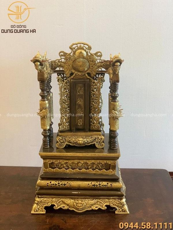 Ngai thờ bằng đồng vàng cao 68cm