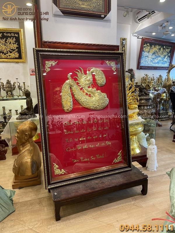 Tranh chữ Tâm hóa rồng nền đỏ độc đáo kích thước 1m6 x 91cm
