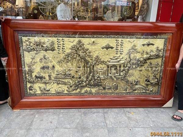 Tranh phong cảnh đồng quê Việt Nam đẹp xước giả cổ 2m3 x 1m2