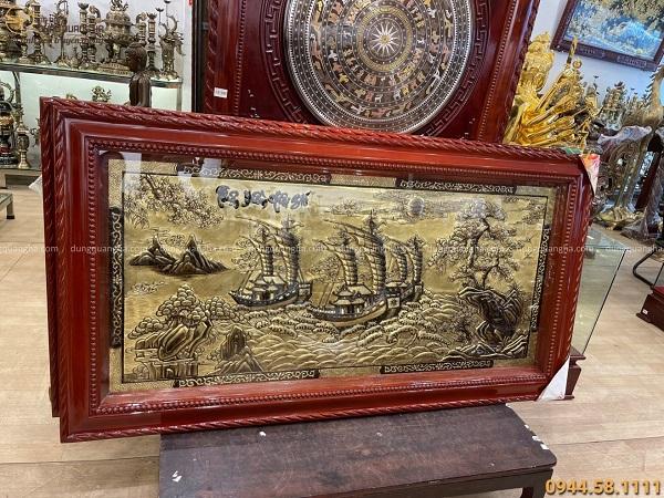 Tranh Thuận Buồm Xuôi Gió xước giả cổ đẹp nhất 1m7 x 90cm